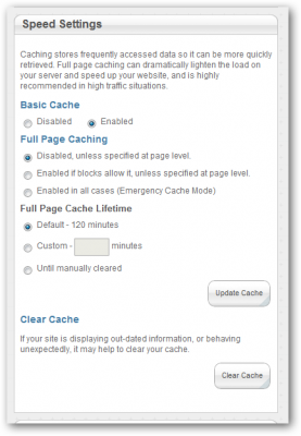 concrete5 full page cache settings